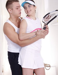 Sporty teen in a tennis skirt gets laid