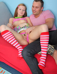 Pretty teen babe wearing stripped knee high socks gets her tight wet pussy pounded hard.