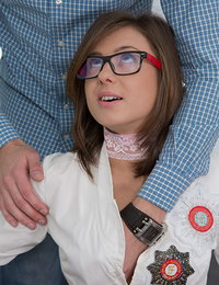 Nerdy-looking babe is being seduced during the exam preparation session